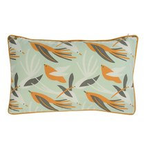 Чехол для подушки мятного цвета с дизайнерским принтом Birds of Nile из коллекции Wild, 30х50 см - Tkano