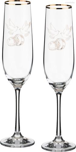 Набор бокалов для шампанского из 2 шт. 190 мл ВЫСОТА 24 см . - Crystalex