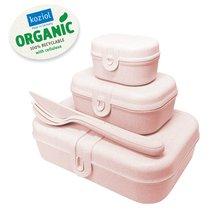 Набор из 3 ланч-боксов и столовых приборов PASCAL Organic розовый - Koziol