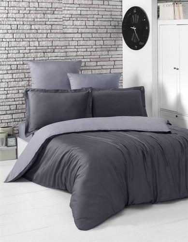 Постельное белье Karna Loft, двухстороннее, цвет темно-серый, размер 2-спальный - Karna (Bilge Tekstil)