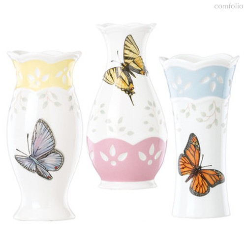 "Набор вазочек для цветов Lenox ""Бабочки на лугу"" 10см, 3шт - Lenox"