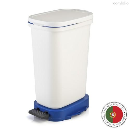 Мусорный бак с педалью BE-ECO 20л, белый-синий, цвет белый/синий - Faplana
