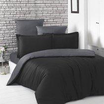 Постельное белье Karna Loft, двухстороннее, цвет темно-серый/черный, 2-спальный - Karna (Bilge Tekstil)