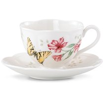 "Чашка чайная с блюдцем 240мл ""Бабочки на лугу"" ""Бабочка-Парус"" - Lenox"