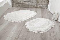 """Набор ковриков для ванной """"MODALIN"""" кружевной LOKAL 60x100 + 50x70 см 1/2, цвет кремовый, 50x70, 60x100 - Bilge Tekstil"""