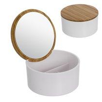 Шкатулка для украшений Bamboo, с зеркалом, цвет белый - D'casa