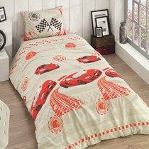 Постельное белье Ranforce Racer, подростковое, цвет красный, 1.5-спальный - Karna (Bilge Tekstil)
