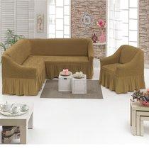 Чехол д/мягкой мебели Угловой 2-х пр.(3+1) кресла 1шт JUANNA, цвет кофейный - Meteor Textile