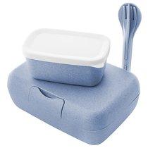 Набор из 2 ланч-боксов и столовых приборов Candy Ready Organic синий - Koziol