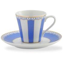 """Чашка кофейная с блюдцем 90мл """"Карнавал"""" (синяя полоска) п/к, цвет синий - Noritake"""