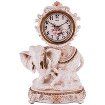 Часы Настольные Кварцевые Слониха Со Слоненком Цвет: Белый С Золотом 33X19X47 см Диам Циф 13См - Shantou Lisheng