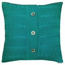 """Вязаный чехол для подушки """"Морская волна"""", 45х45 см, 02-V064/1, цвет бирюзовый, 45x45 - Altali"""