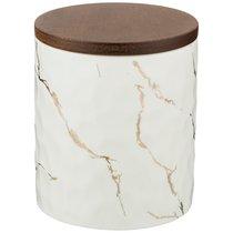 Банка Для Сыпучих Продуктов Коллекция Золотой Мрамор Цвет:White 11,5x16 см - Porcelain Manufacturing Factory