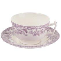 """Чашка чайная с блюдцем 200мл """"Деламер, сельские мотивы"""" (розовая) - Spode"""