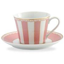 """Чашка чайная с блюдцем 240мл """"Карнавал"""" (розовая полоска) п/к, цвет розовый - Noritake"""