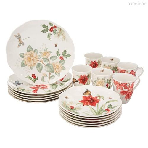 "Сервиз чайно-столовый Lenox ""Пуансеттия, амарилис, жасмин.Бабочки на лугу"" 6/18, п/к - Lenox"