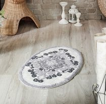 """Коврик для ванной """"MODALIN"""" овальная VERA 50x80 см 1/1, цвет серый, 50x80 - Bilge Tekstil"""