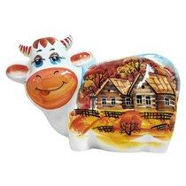 Копилка фарфоровая Корова Бурёнка Осень - Веселый фарфор