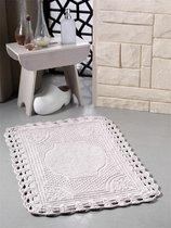 """Коврик для ванной """"MODALIN"""" кружевной FLORA 55x90 см 1/1, цвет кофейный, 55x90 - Bilge Tekstil"""