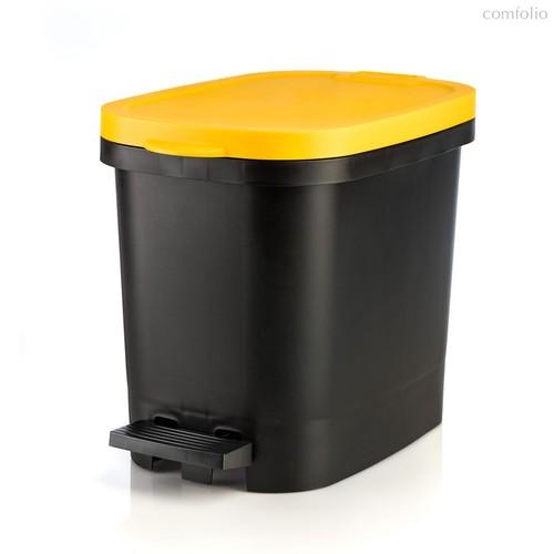 Мусорный бак с педалью BE-UTIL 10л, черный-желтый, цвет желтый/черный - Faplana