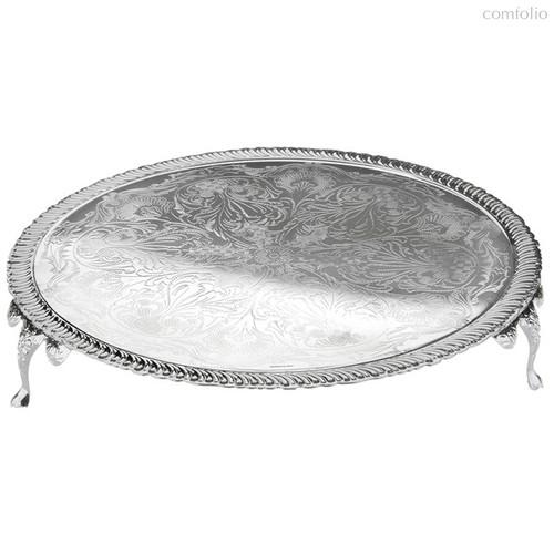 Блюдо круглое на ножках Queen Anne 28см, сталь, посеребрение - Queen Anne