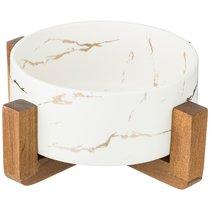 Салатник На Деревянной Подставке Коллекция Золотой Мрамор Цвет: White 20,8x20,8x8.5 см - Porcelain Manufacturing Factory