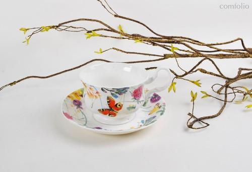 Чайная пара для завтрака Порхающие цветы 400 мл - Top Art Studio