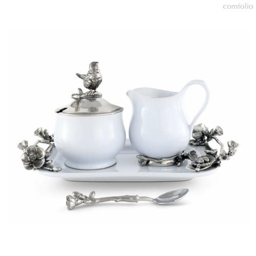 Набор сахарница и молочник на подносе Vagabond House Птичья трель 31х20см, керамика - Vagabond House