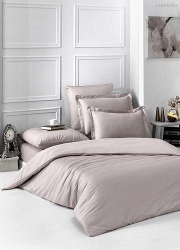 Постельное белье Karna Loft, однотонное, цвет капучино, 2-спальный - Karna (Bilge Tekstil)