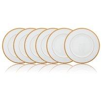 Набор тарелок закусочных Noritake Рочель,золотой кант 22см, фарфор, 6шт - Noritake