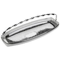 Блюдо для хлеба с ручкой Queen Anne с бортом 40х15см, сталь, посеребрение - Queen Anne