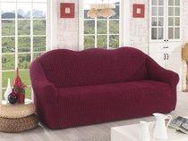 "Чехол для дивана ""KARNA"" трехместный , без юбки, цвет бордовый - Bilge Tekstil"