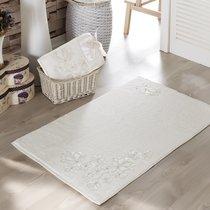 Французский кружевной коврик Senses, махровый, цвет молочный, размер 60x90 - Irya