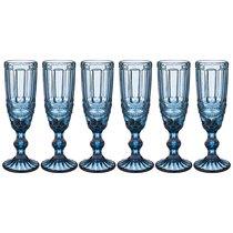 Бокалы для шампанского Серпентина 6 шт. 150мл Серия Muza Color Высота 20 см, цвет синий - Honkong Maple