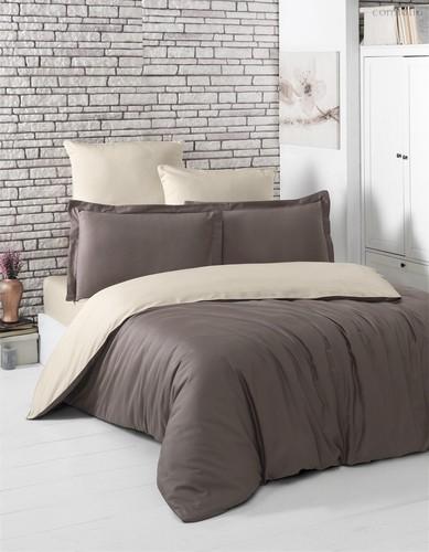 Постельное белье Karna Loft, двухстороннее, цвет бежевый/коричневый, размер 2-спальный - Karna (Bilge Tekstil)