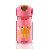 Бутылочка детская с силиконовой соломинкой 415 мл розовая - Zoku