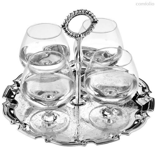 Набор бокалов для коньяка на подносе Queen Anne, 4шт, сталь, стекло, посеребрение - Queen Anne