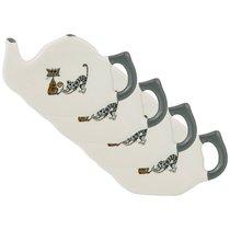 Набор Из 4-Х Подставок Под Чайный Пакетик Коллекция Озорные Коты 11x7x2 см - Hongda Ceramics