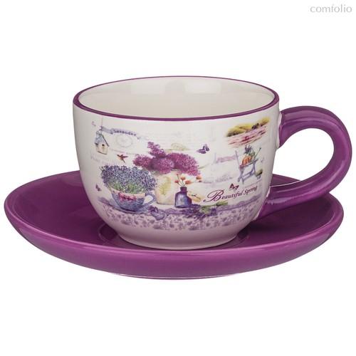 Чайный Набор На 1 Персону Лавандовая Весна 15x15 см Высота 7 см / 220 мл - Huachen Ceramics