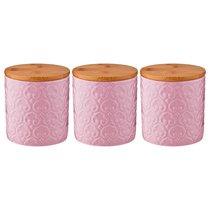 Набор Из 3-Х Емкостей Для Сыпучих Продуктов Объем 500 мл10X10X11 см, цвет розовый - Jiafa Ceramics