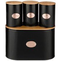 Набор Agness Черное Золото Хлебница 2 В 1 34x18x20 см , Банка Для Сыпучих 11x15,5 см 3 Шт - SunWay (China3way)