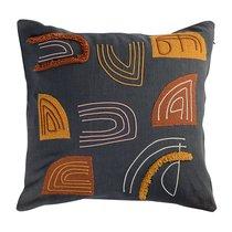 Подушка декоративная с бахромой и аппликацией из коллекции Ethnic, 45х45 см - Tkano