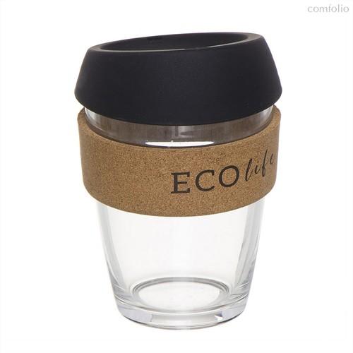 Стакан для кофе с силиконовой крышкой Eco Life 330мл черный, цвет черный - D'casa
