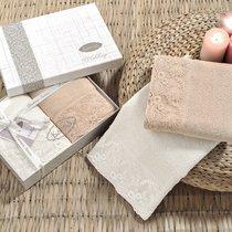 Набор махровых полотенец Karna Elinda (2 шт.), цвет кофейный/кремовый, 50x90 - Bilge Tekstil