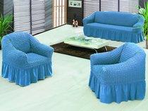 """Набор чехлов для дивана """"EVERY"""" 3+1+1, цвет голубой - Bulsan"""