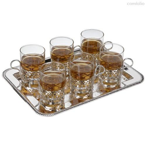 Набор стаканов с подстаканниками на подносе Queen Anne, 6шт, сталь, стекло, посеребрение - Queen Anne