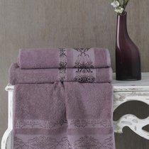 Полотенце махровое Karna Rebeka, цвет светло-сиреневый, размер 70x140 - Karna (Bilge Tekstil)