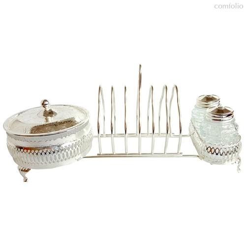 Набор для завтрака (для тостов, джема и специй) Queen Anne 30х12х14см, сталь, стекло, посеребрение - Queen Anne