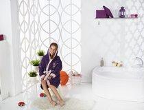 """Халат подростковый с велюром """"KARNA"""" с капюшоном SNOP (12-13 Лет), цвет фиолетовый - Bilge Tekstil"""