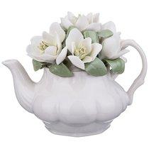 СТАТУЭТКА ЧАЙНИК С ЦВЕТАМИ 14x9x11 см - Porcelain Manufacturing Factory